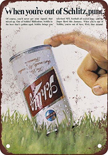 1969 Schlitz Beer and Football Vintage Look Reproduction Metal Sign (Schlitz Beer compare prices)