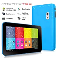 Prontotec 7 Inch HD 1024x600 Capacitive Touch Screen Tablet PC DDR 512MB, 8GB Nand Flash,Dual Core Android 4.2.2, Dual Camera, Wi-fi, G-sensor (Blue) by ProntoTec