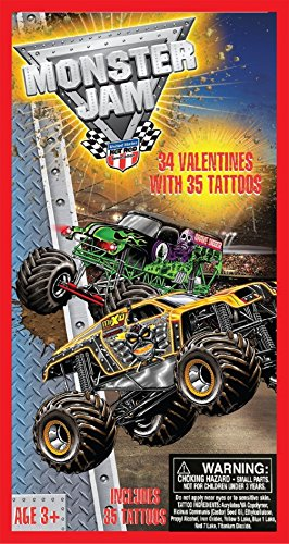 Monster Jam 34 Valentines Cards with Tattoos - 1