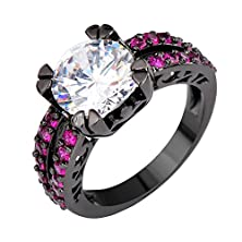 buy Bamos Jewelry Womens White Round Diamonds Double Claw Black Gold Rings Size 9