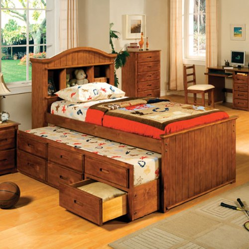 Grady American Oak Finish Twin Size Captain Bed W/ Trundle front-992224