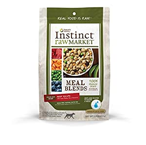 Nature's Variety Instinct Raw Market Grain-Free Freeze Dried Beef Recipe Meal Blends for Dogs, 1 lb. Bag