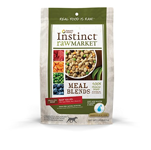 Nature's Variety Instinct Raw Market Grain Free Freeze Dried Beef Recipe Meal Blends for Dogs, 1 lb. Bag (Instinct Dehydrated Dog Food compare prices)