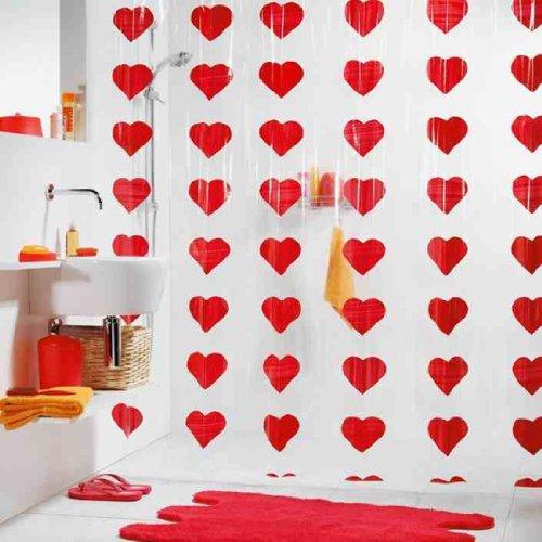 Spirella Cute Love Heart Waterproof Pvc Shower Curtain, Swiss Design Love Shower Curtain, 180Cm*200Cm front-3996