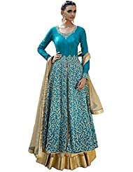 Sk Creation Gorgeous Sky Blue Neck Embroidered Semi Stitched Long Anarkali Suit
