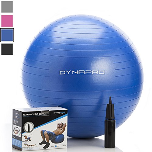 Exercise Ball with Pump- Gym Quality, Anti-Burst, Anti-Slip (Blue, 65 centimeters) Fitness Ball by DynaPro Direct. More colors and sizes available aka Yoga Ball, Swiss Ball