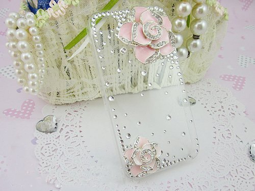Coco Hand-made Durable iPhone 5 Hard Crystal Bling Case Skin Cover Pink Flower (with Free Diamante/ diamonds and Glue)