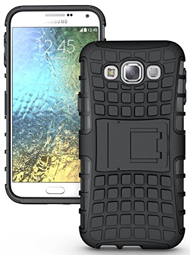 KPH Kick Stand Spider Hard Dual Rugged Armor Hybrid Bumper Back Case Cover For Samsung Galaxy J5 Black