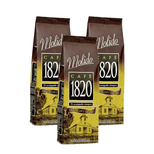 Cafe 1820 Molido - Costa Rica Gourmet Ground Premium Coffee - 17.6 Oz (500 Gr) 3 Pack