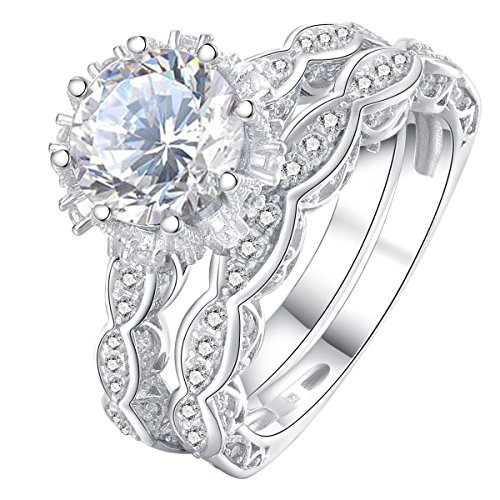 Newshe Vintage 3ct Round White CZ 925 Sterling Silver Wedding Band Engagement Ring Set Size 5