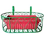 VGreen Balcony Railing Metal Planter ( Green Color ) with Suitable Pot