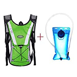 Hydration Pack Keepfit Hydration Pack Hydration Pack with 2 L Backpack Water Bladder for Hiking Running Biking Green