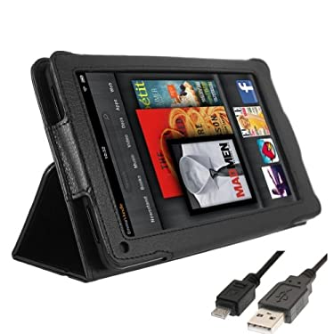 "RUBAN (TM) Black Leather Case Cover For Amazon Kindle Fire 7"" Tablet With Stand"