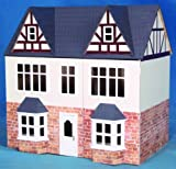 Box Brick Effect Wooden 3 Storey Tudor Dolls House Kit