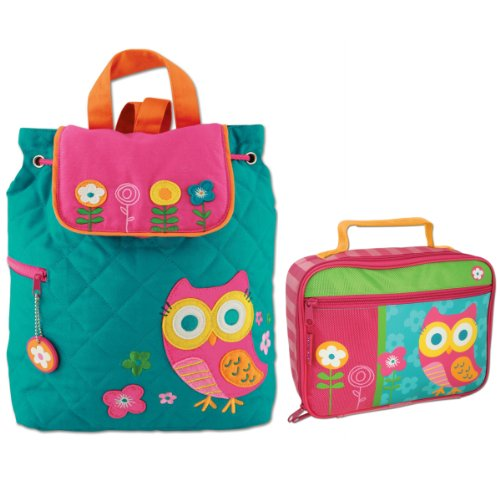 Stephen Joseph Quilted Owl Backpack And Owl Lunch Box Combo - Girls Backpacks front-945139