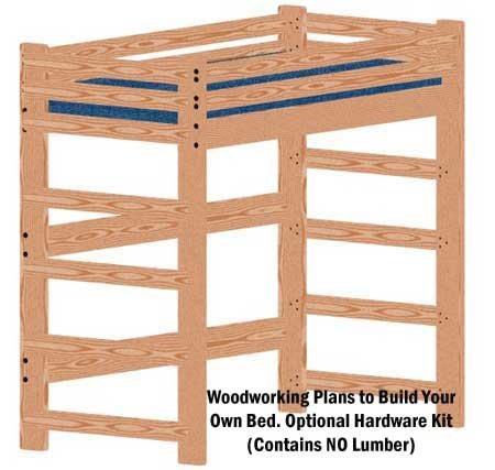 Loft Or Bunk Bed Woodworking Plan (Not A Bed) Extra-Tall Extra-Long Twin