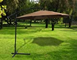 New Deluxe Natural 10' Offset Patio Umbrella Off Set Outdoor Market Umbrella