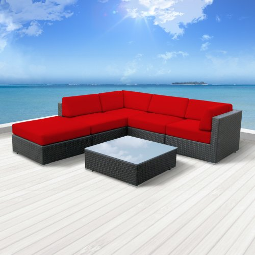 Luxxella Outdoor Patio Wicker BERUNI Red Sofa