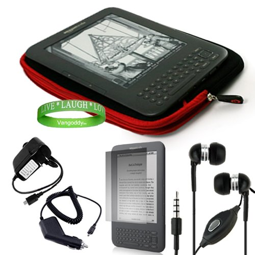 Quality Amazon Kindle 3 ( Wifi Only , Wifi + 3G ) ( Latest Generation ) Accessories Kit: Jet Black With Ruby Red Carrying Sleeve With Extra Pocket + Kindle Car Charger + Custom Cut Kindle 2 Screen Protector + Kindle Wall Charger + Kindle Earphones With Mi