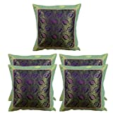 MeSleep Green Paisley Brocade Cushion Cover - Set Of 5