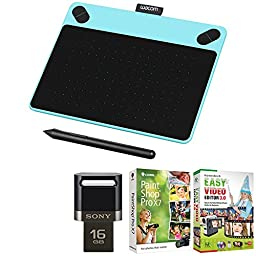Wacom Intuos Art Pen and Touch Tablet Small Blue 16GB Creative Bundle w/Corel Paint includes Wacom Intuos Tablet, Corel Paint Shop Pro and 16GB JumpDrive