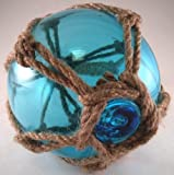 Mary B Decorative Art Japanese Glass Fishing Floats Fish Net Buoys Tiki Decor in Light Blue