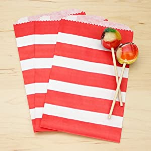 Red Striped Paper Bag | 20ct