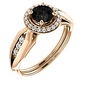 14K Rose Gold Round Cut Black Diamond Halo-Style Engagement Ring - 0.95 Ct.