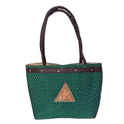 Womaniya Women's Jute Green Handbag(Size-40 Cm x 24 Cm x 11 Cm)