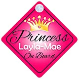 Princess Layla-Mae On Board Personalised Girl Car Sign Baby / Child Gift 001