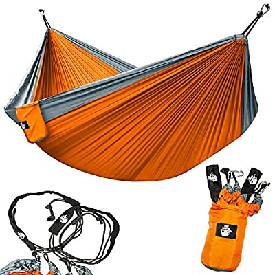 Legit Camping - Double Hammock - Lightweight Parachute Portable Hammocks for Hiking , Travel , Backpacking , Beach , Yard . Gear Includes Nylon Straps & Steel Carabiners by Legit Camping Llc