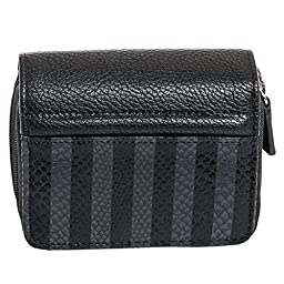 Buxton Womens RFID Identity Safe Card Wizard Wallet (Black Stripe)