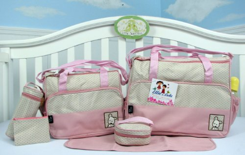 SOHO- Pink Diaper bag with changing pad 6 pieces set