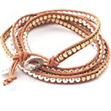 Boho-Betty Biscuit Treasure - Quad, Tan leather wrap with silvery balls and golden nuggets