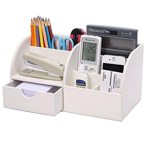 KINGFOM-7-Speicherabteil-Multifunktionale-Kunstleder-Schreibtisch-Organisator-Wei