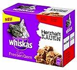 Whiskas 12er Multipack zum Fressen gern - Herzhaft mit Fleisch Katzenfutter 1.02 kg, 4er Pack (4 x 1.02 kg)