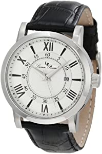 Lucien Piccard Men's 11577-02S Stockhorn Silver Textured Dial Black Leather Watch