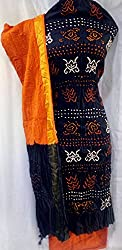 Shubh Women's Dress Material (8992CDTBCRU_Black Rust_Free Size)