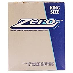 ZERO KING SIZE WHITE FUDGE CHOCOLATE 3.4 oz Each ( 12 in a Pack )