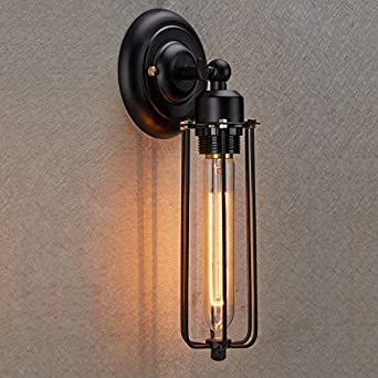 Industrial Looking Wall Sconces : Ecopower Vintage Style Industrial Mini Cage Wall Sconce - - Amazon.com