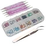CyberStyle(TM) 3000pcs 2mm 12 Color Nail Art Glitter Rhinestones Tips + 5 x 2 Way Marbleizing Dotting Pen + Tweezer