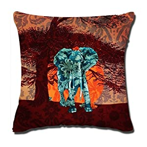 Amazon.com: Ackershop Walking Elephant By Sundown pattern pillowcase 18 X 18 inch Zippered Throw ...