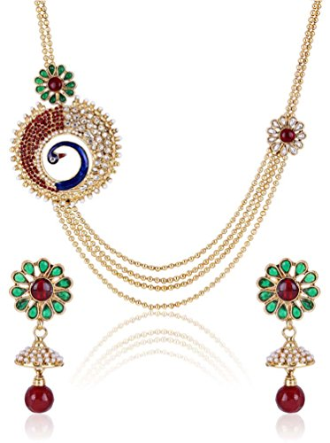 Party Wear Bollywood Designer Gold Plated 4-Strings Long Peacok Necklace Set For Women By Shining Diva