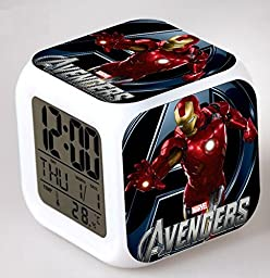 ENJOY LIFE : Cute Digital Multifunctional Alarm Clock With Glowing Led Lights and The Avengers Hulk Capitan America Iron Man sticker, Good Gift For Your Kids , Comes With Bonuses Part 1 (09)