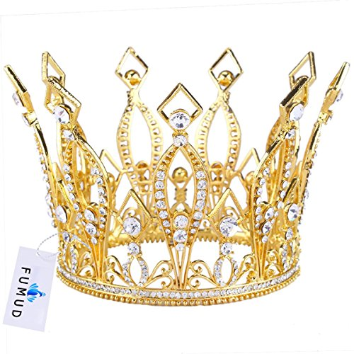 [FUMUD Imperial Medieval 3.9inch Crowns Full Rould Gold/Silver Tiaras For Women Clear Crystal Pageant Party Costumes Diadem Hair Jewelry] (Beauty Pageant Queen Costume)