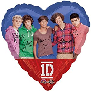 "One Direction Pop Stars Heart Shaped 18"" Mylar Foil Balloon from Anagram"
