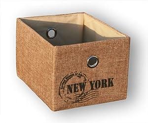 KMH®, Praktischer Schrankkorb (Farbe: natur / Aufdruck: New York) (#204122)