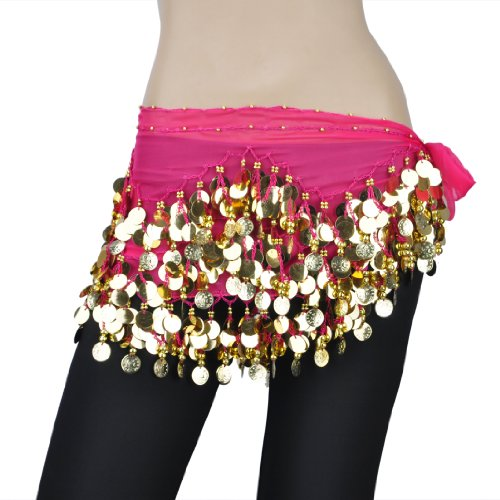 BellyLady Belly Dance Hip Scarf, Gold Coins Waves Style,Halloween Costume