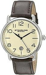 Stuhrling Original Men's 695.02 Symphony Swiss Quartz Date Brown Leather Strap Watch