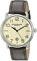 Stuhrling Original Men's 695.02 Symphony Stainless Steel Watch with Brown Leather Band